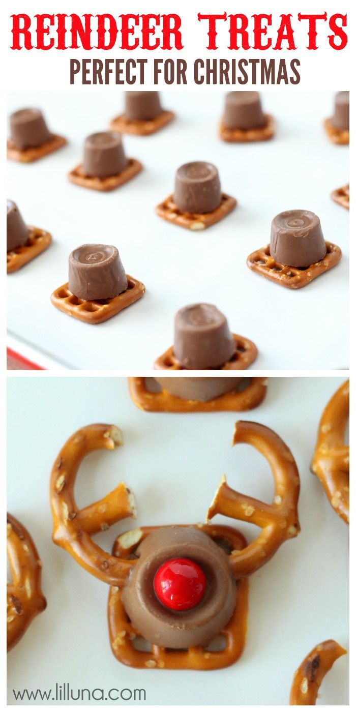 Yummy Reindeer Treats How-To ~ so cute... made with Square Pretzels,  Regular Pretzels, Rolos, Red Sixlets