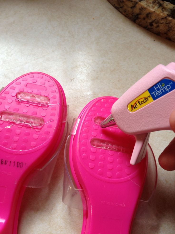 Hot glue bottom of little girl dress up shoes to prevent slipping