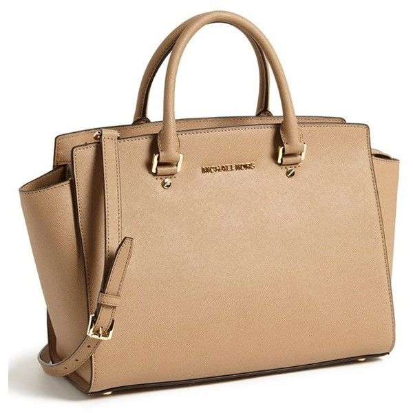 MICHAEL Michael Kors 'Large Selma' Zip-Top Satchel (470 CAD) ❤ liked on Polyvore featuring bags, handbags, beige handbags, michael michael kors, beige bag, logo bags and michael michael kors purse