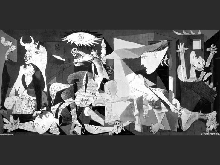 """""""Guernica"""", Pablo Picasso, 1937. Cubismo. Óleo sobre lienzo, 776.6 cm × 349 cm, Museo Nacional Centro de Arte Reina Sofía, Madrid. Alude al bombardeo de Guernica, ocurrido el 26 de abril de dicho año. Fue realizado como símbolo de los terribles sufrimientos que la guerra inflige a los seres humanos durante la Guerra Civil Española. """"No, la pintura no está hecha para decorar las habitaciones. Es un instrumento de guerra ofensivo y defensivo contra el enemigo"""""""