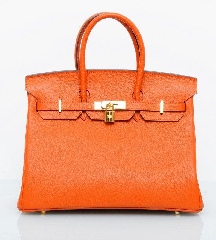 Кожаная сумка Hermes Birkin (Эрмес Биркин) оранжевая с золотой фурнитурой. Самое лучшее качество. 35см в ширину #18953