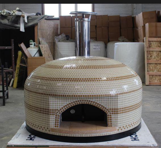 Forno Bravo Pizza Oven cream and amber tile