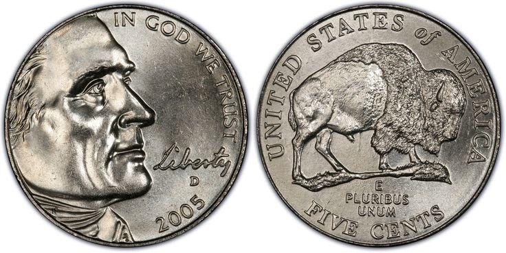 """Dólar americano (1785-em uso) (x) 5 cents (2005, Comemorativa: Bicentenário da expedição de Lewis e Clark) O: face de Thomas Jefferson (1743-1826, 3º presidente dos EUA 1801-1809), em inglês """"liberdade"""" - na caligrafia do presidente -  e """"em Deus confiamos""""./R: um bisão americano, em reconhecimento aos índios americanos e à vida selvagem encontrada durante a expedição, valor, o nome do país em inglês e em latim """"de muitos, um""""."""