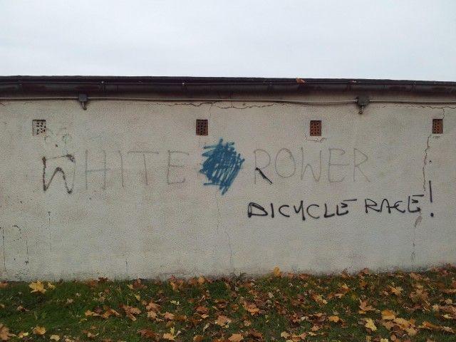 White rower - graffiti Kluczbork #rower #graffiti #Kluczbork