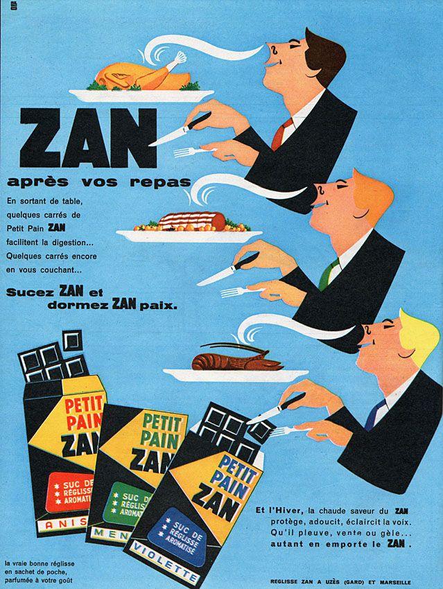 Publicité Zan - 1960 - réglisse - bonbon -