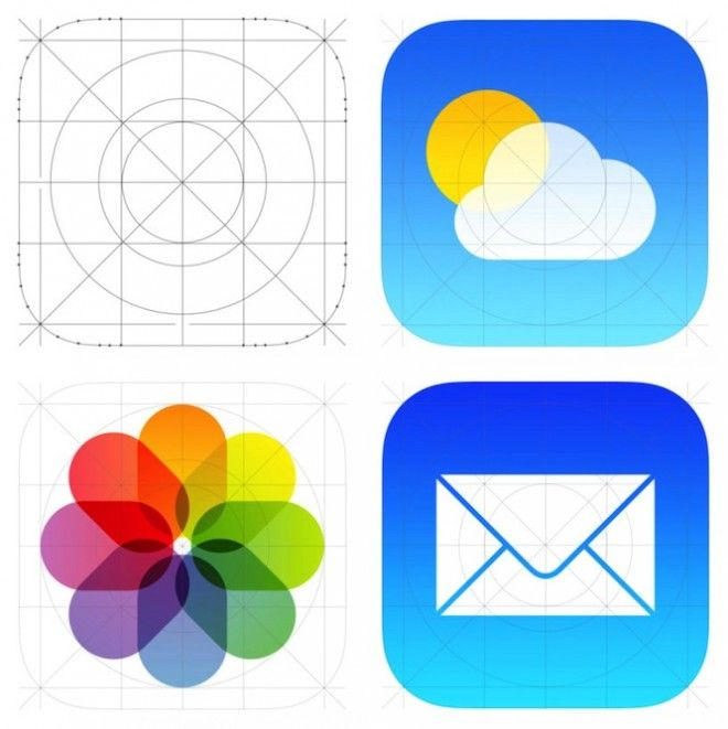 """The new iPhone iOS7 icon system by Jony Ives, is based on a grid that harmonizes the many tiles of the user interface (UI) design. The new icons designs replace the """"skeuomorphic"""" iO6 icons which emulated objects in the physical world through the illusory rendering of materials, such as wood, leather and felt."""