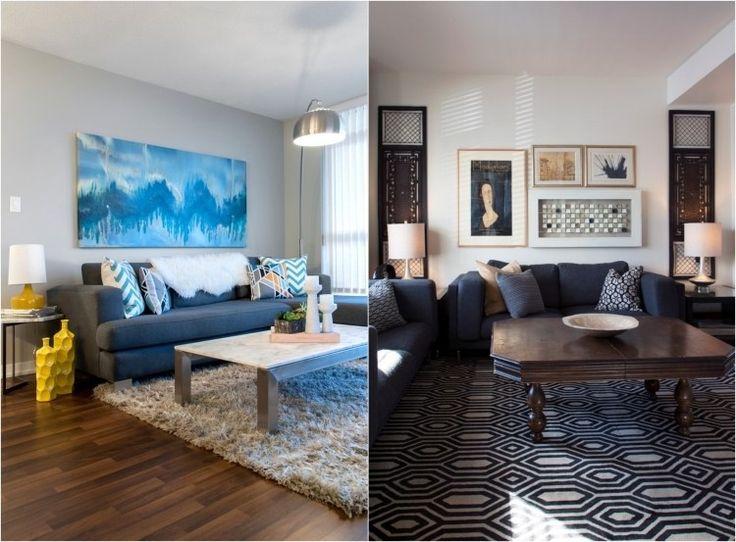 Sofas In Dunkelgrau Und Blau Im Modernen Wohnzimmer