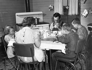 Families eating together at the table without the TV on..My family did this at every meal when I was growing up. I think it is a good thing.