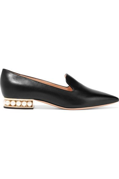 Heel measures approximately 20mm/ 1 inch Black leather Slip on Made in Italy