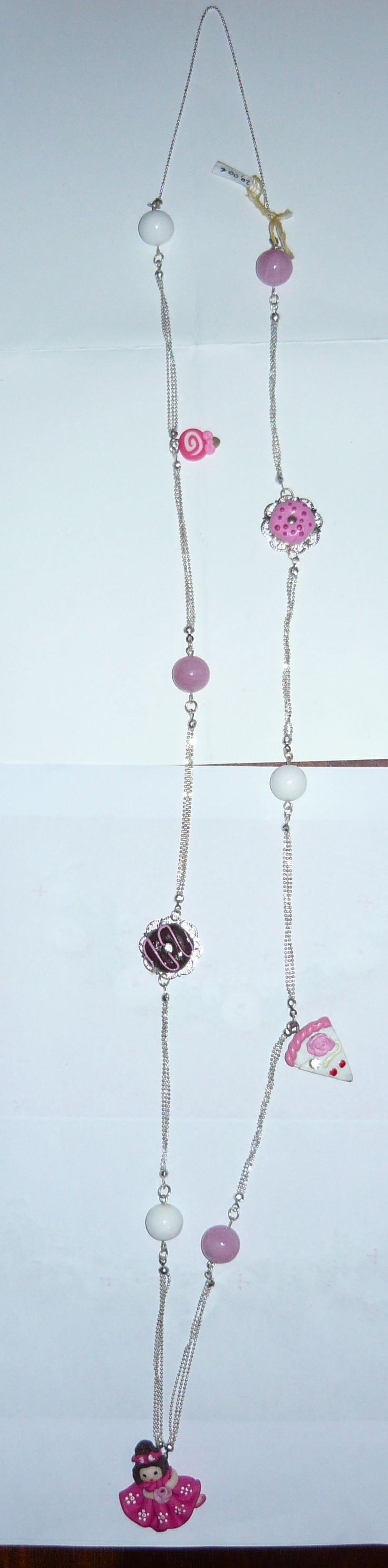 #Necklace with #doll and #pastries #pendants and pink #beads