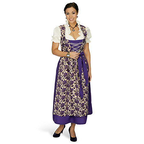 Dirndl-Maxi-Viola-3tlg-Trachten-Kleid-Dirndl-Bluse-Schrze-mit-Rosenblten-zum-Oktoberfest-0