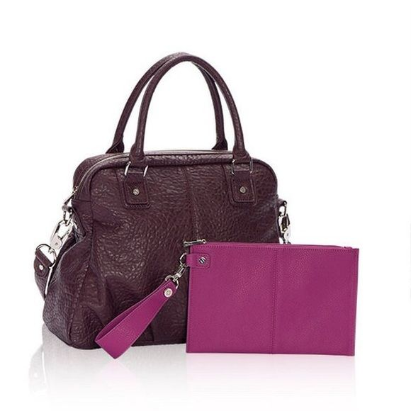 """NEW Thirty One Couture Street Bowler Bag  never carried.  Color is deep plum purple. """"Jewels and Gems Vintage Pebble"""". Great bag!  Zipper top. Very spacious and roomy. Detachable shoulder strap. Approx 14x11.  THIS LISTING IS ONLY FOR THE BAG Thirty One Bags"""