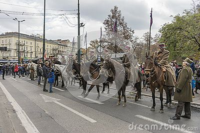 Historical polish soldiers parade celebrating Polish Independence Day in Krakow on November 11 .
