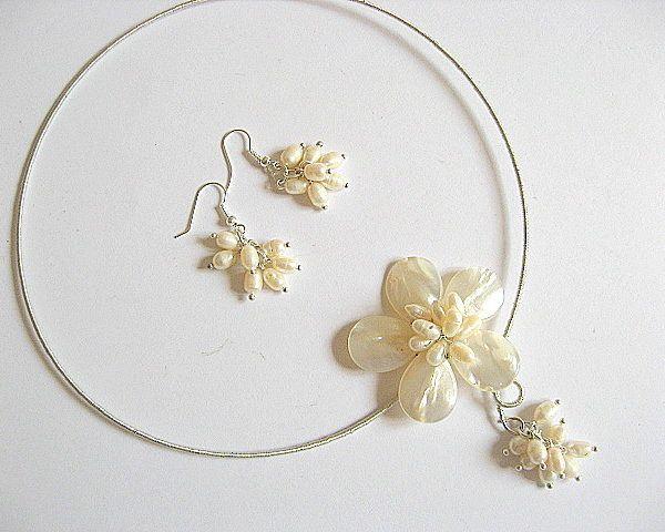 Set mireasa cercei si colier sidef si perle naturale - set bijuterii nunta