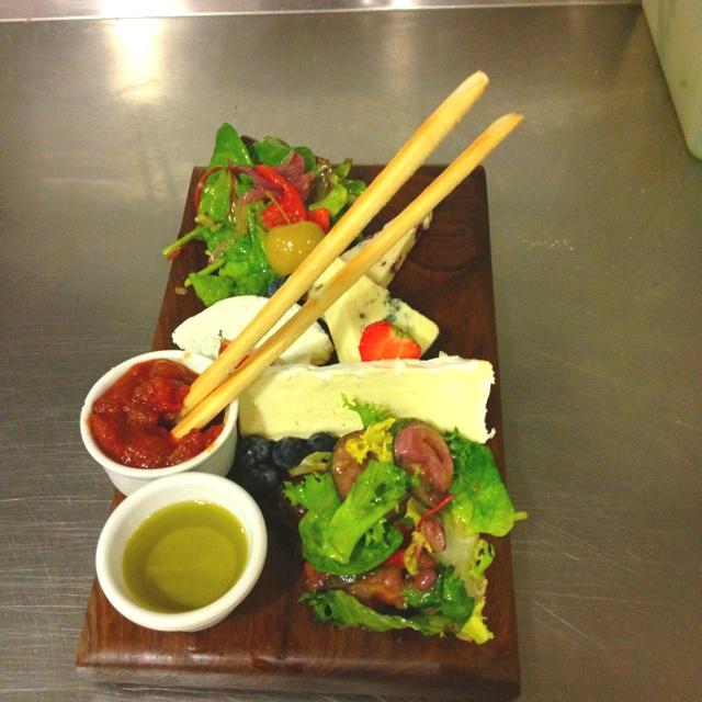 Irish & French Cheeses with Tomato Relish, Olive Oil & Seasonal Salad.  By Cheforian