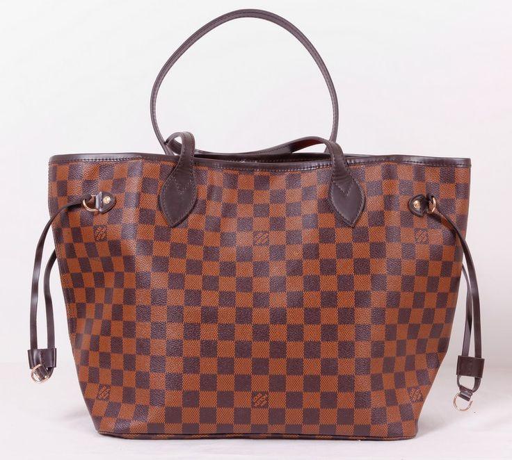 Сумка Louis Vuitton LV neverfull, коричневая в клетку, точное соответствие оригиналу. Размер 32x29x17cm #20089