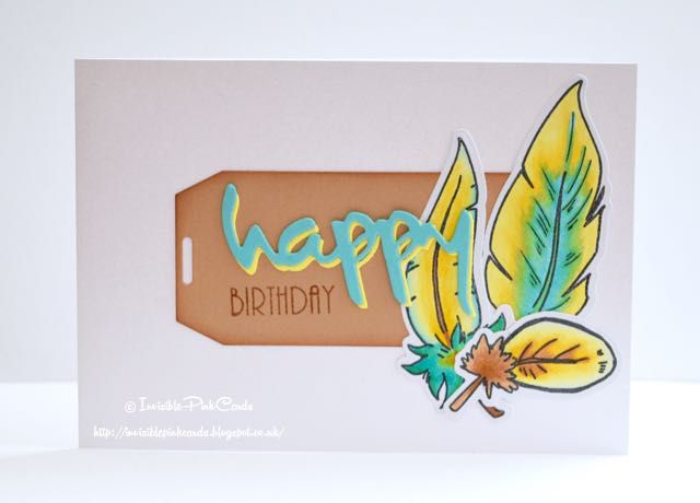 InvisiblePinkCards: I've got a new feather stamp set from STAMPlorations. Made a Happy Birthday card.