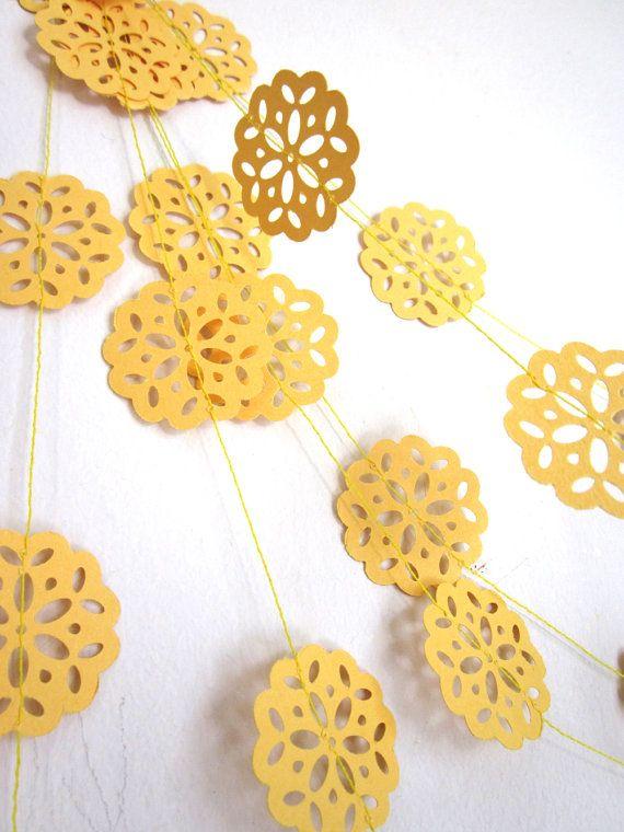 Yellow Paper Garland    Bridal Shower Decoration Yellow Garland  Paper by ArtsDelight, $12.00