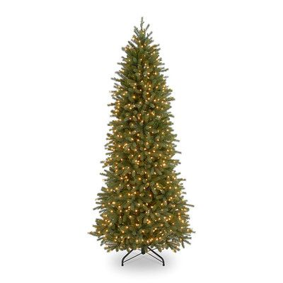 National Tree Co. Jersey Fraser Fir 7.5' Green Pencil Slim Artificial Christmas Tree with 650 Pre-Lit Clear Lights with Stand