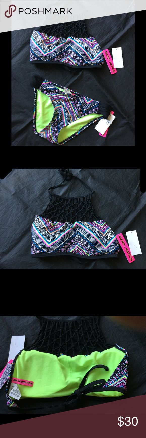NWT Bikini Nation Fancy High Neck Bikini Swim Suit Lined bust with removable soft pads. Self tie at neck and back. Fully lined bikini bottoms. Brand new with tags. Color. Black multi. Bikini Nation Swim Bikinis