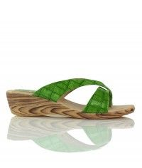 Mojito - Gloss lime green crocodile wood-grain wedge thongs $49.00 #shoeenvy #shoes #fashion #instalove #pretty #ethical #glamorous
