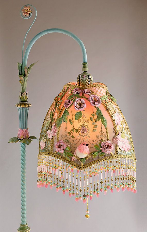 SOLD do not purchase | Amazing Sleeping Beauty Fantasy OOAK Beaded Pink and Green Victorian Bridge Lamp with Vintage Pink Bird