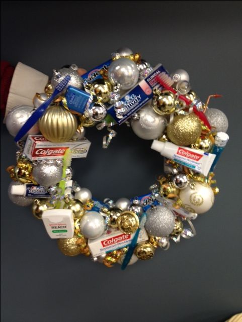 Dental Theme Christmas Wreath from Stillwater Family Dental office in Stillwater, Minnesota.
