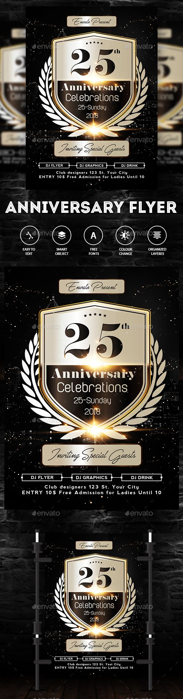 The 735 best Birthday & Anniversary Flyer Template images on ...