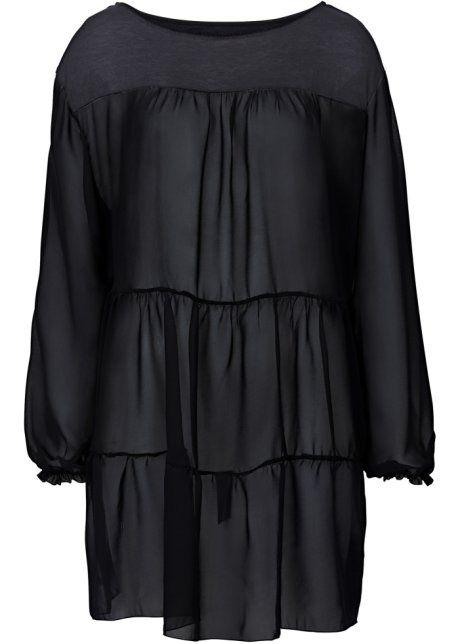 Blusa in maglina, RAINBOW, Nero