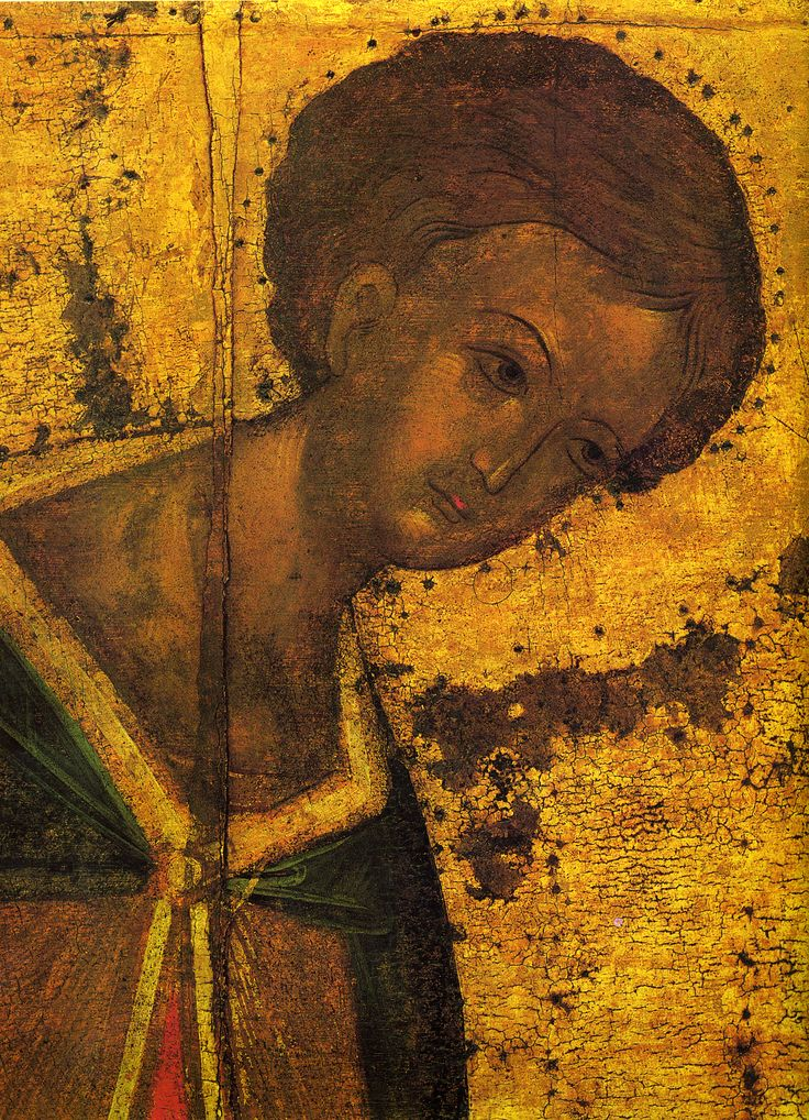 Andrei Rublev - St. Demetrius of Thessaloniki (fragment), 1425. There is a theory, that this picture has features of prince Dmitry of Moscow (Donskoy). St. Demetrius was his patron saint, and after Dmitry's reign he became popular in Moscow icon-painting, being associated with Dmitry's struggle for independence.