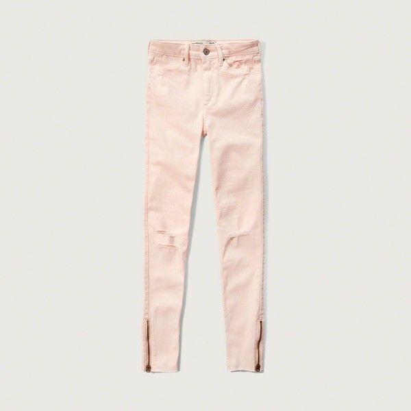 Abercrombie & Fitch High Rise Ankle Super Skinny Jeans ($88) ❤ liked on Polyvore featuring jeans, destroyed light pink, high waisted jeans, super high-waisted skinny jeans, ripped skinny jeans, destroyed skinny jeans and distressed skinny jeans