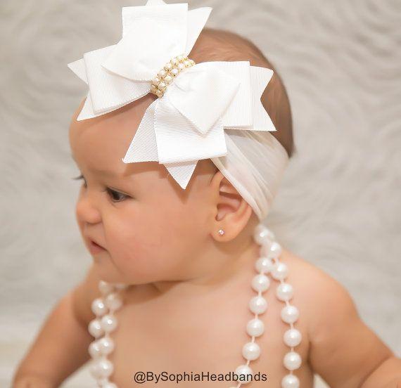 Baby Headband Headwrap White Baby Headband White by BySophiaBaby