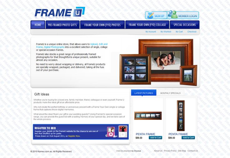 FrameU is an online ecommerce website that sells pre-framed pictures as well as custom picture based frames allowing users to upload their pic and customize their frames. The website was developed & designed by Snyxius and is developed using the popular magento framework.  Link:  http://www.frameu.com.au
