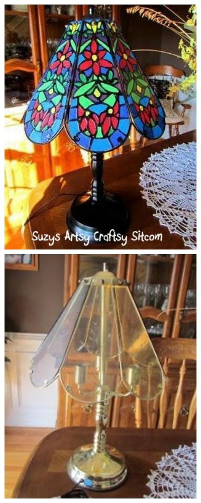 Turn a thrift store lamp into a faux tiffany lamp!  Easy tutorial!