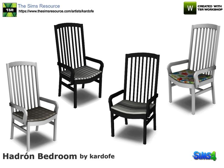 Wooden chair with upholstered cushion, four color options Found in TSR Category 'Sims 4 Dining Chairs'