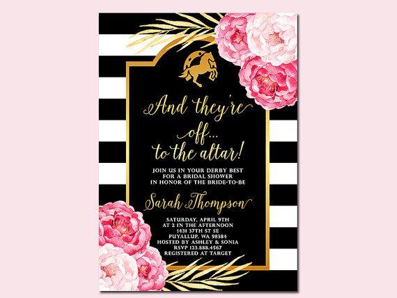 Kentucky Derby bruids douche uitnodiging en door SunnyDaysCreation