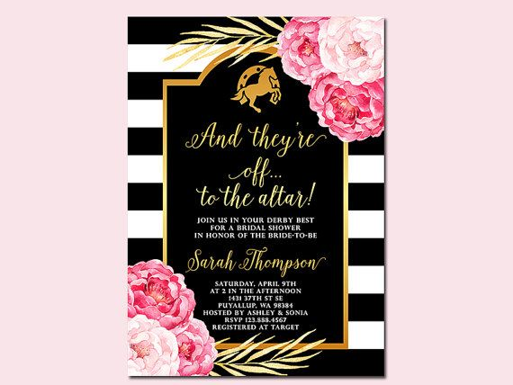 Kentucky Derby Bridal Shower Invitation And by SunnyDaysCreation