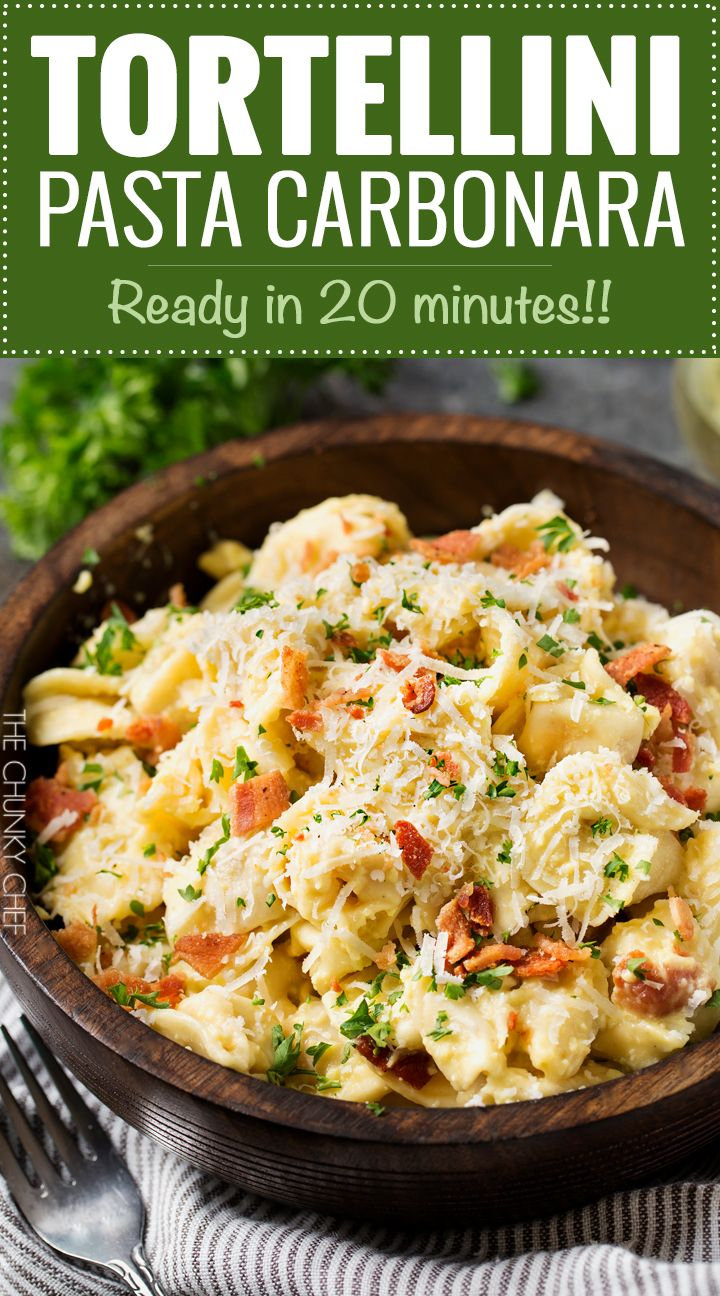 20 Minute Tortellini Pasta Carbonara | Cheese tortellini pasta is coated in a rich carbonara sauce, sprinkled with bacon and Parmesan cheese. It's the perfect weeknight dinner! | http://thechunkychef.com @buitoniusa #Buitoni #CloserToDinner #ad