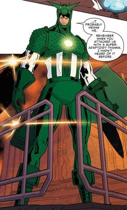 When the Super-Adaptoid returned to Earth, it was encountered by the latest version of the Avengers Unity Division. It was able to copy the powers of the Human Torch before, on a whim, Deadpool touched it barehanded. The Super-Adaptoid copied Deadpool's powers, but it also copied Deadpool's cancer and became overrun by the disease, killing the android's organic properties, an action that resulted in Wade being scolded for his reckless abandonment and leading Spider-Man to leave the team.