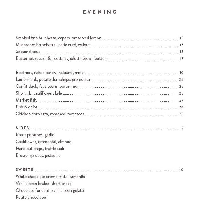 Waihi beach Cafe evening menu