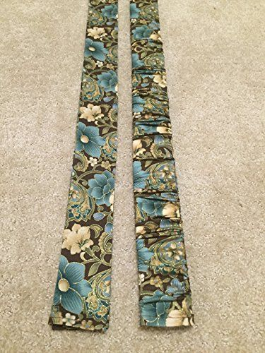 Trendy Print - MUM AND LIXOR W METALLIC Chocolate Brown with Teal & Cream floral and gold accent print Lamp Cord Cover, Fabric cover, Electrical Cord Cover, Chandelier Cord - IN STOCK, Ready to Ship.