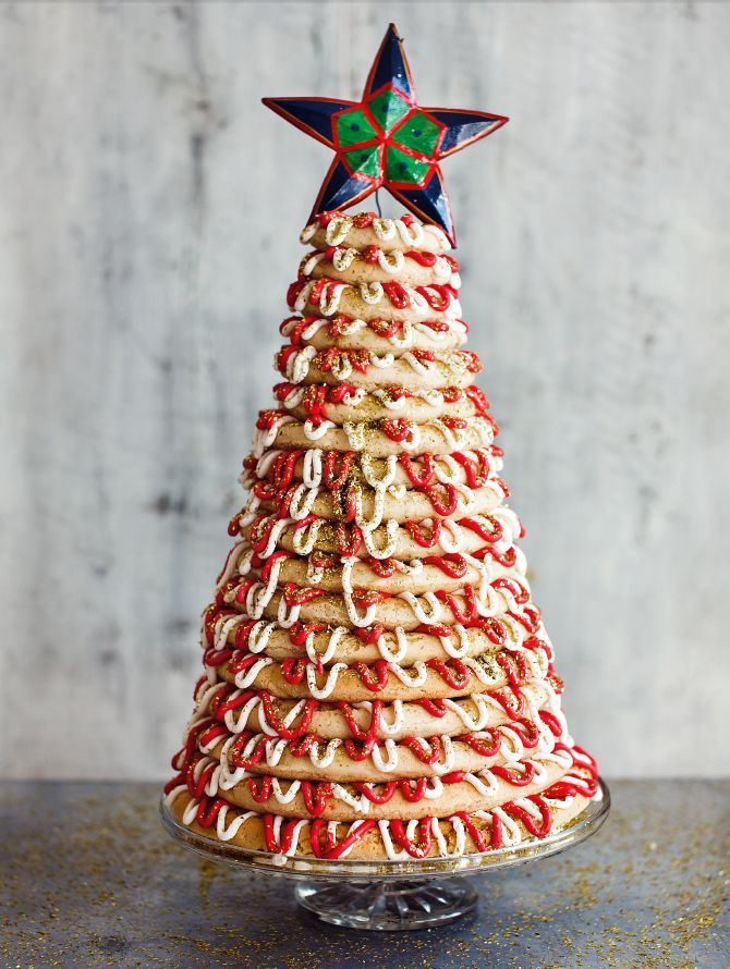 Paul's Kransekake from the Great British Bake Off Christmas cookbook. A jaw-dropping Christmas Showstopper from the lovely Paul Hollywood. http://thehappyfoodie.co.uk/recipes/pauls-kransekake