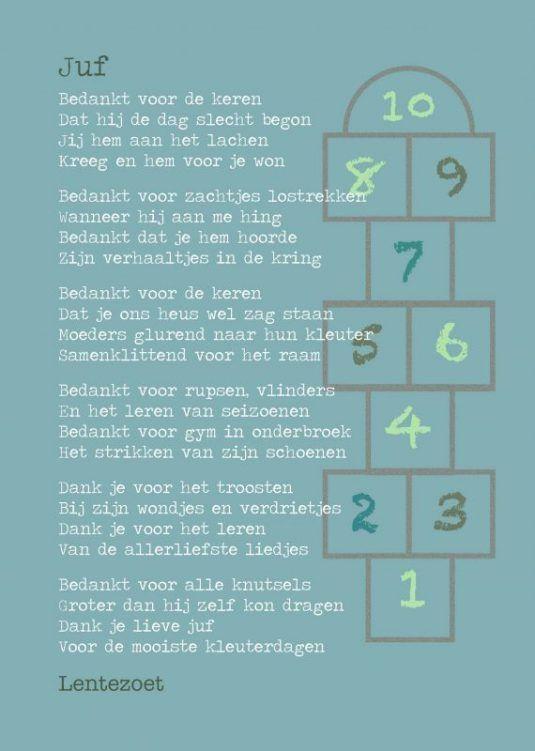 Kaart Juf (kleuter) - Lentezoet.nl