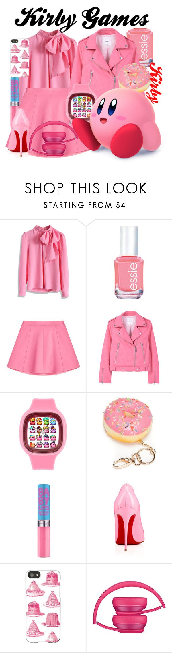 """Kirby from the Kirby Games"" by imanirine on Polyvore featuring Chicwish, Essie, RED Valentino, MANGO, Red Camel, Nintendo, Christian Louboutin and Thornback & Peel"