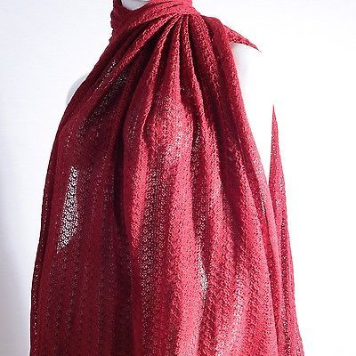 XXL Lace Stola Strick Schal Cape rot 190 x 100 cm Tuch Poncho Plaid Decke XL
