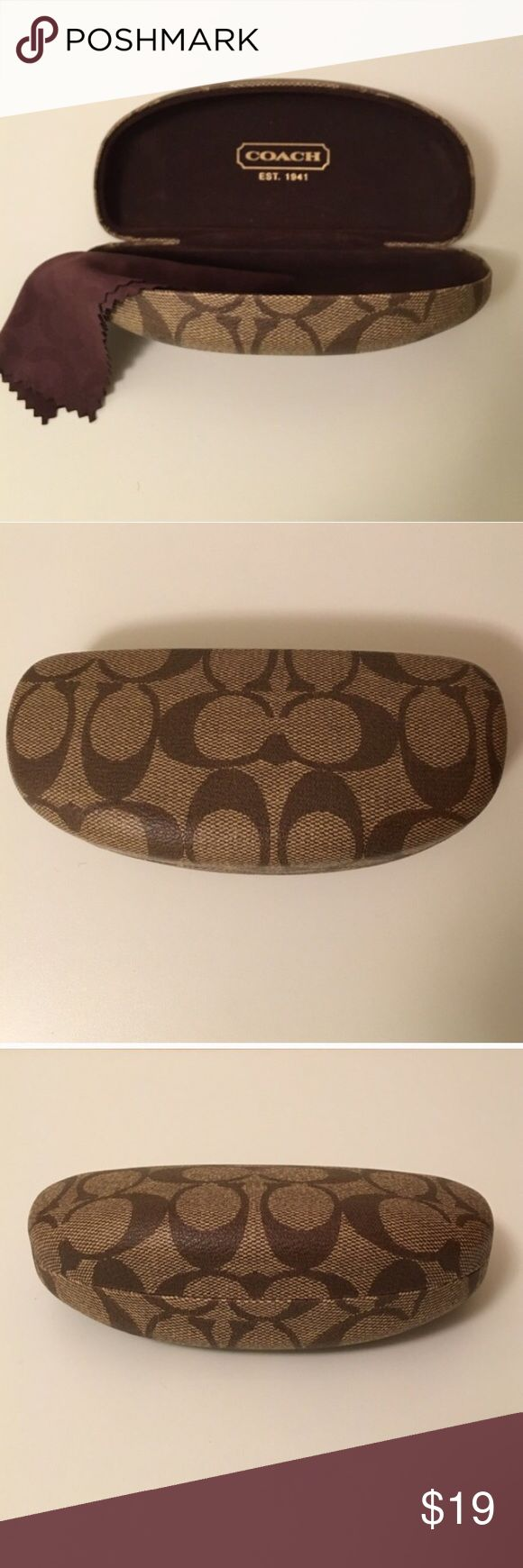 """COACH hard case for glasses / sunglasses Hard case with signature COACH logo pattern in tan and brown for your eyeglasses or sunglasses. Spring-loaded hinge to keep them safely tucked inside. Includes COACH cleaning cloth. Measures 6-1/2"""" x 3"""" x 2"""". Coach Accessories"""