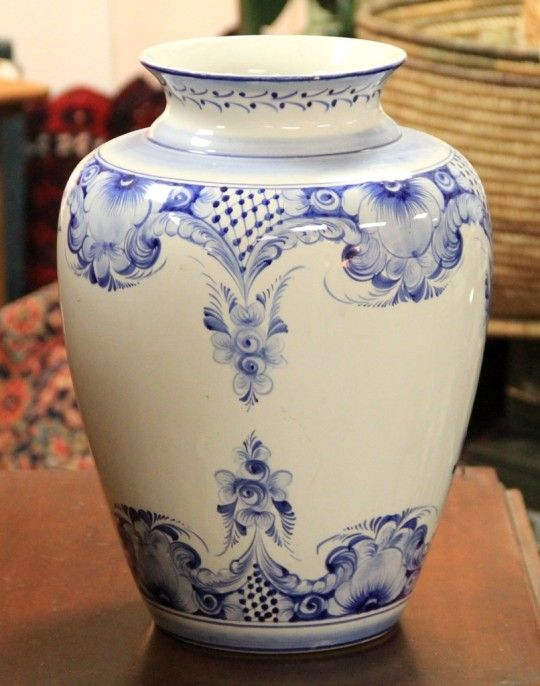 Large Blue & White Vase - Made in Portugal (SOLD)