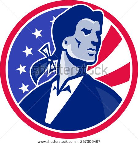 Illustration of an American Patriot Minuteman looking up with American stars and stripes flag set inside circle on isolated white background.