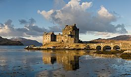 Eilean Donan Castle Loch Duich, part of the Kintail National Scenic Area  Clan Mackenzie and Macrae  Named for Donnan of Eigg an Irish martyred saint; destroyed in the Jacobite rebellions 1719