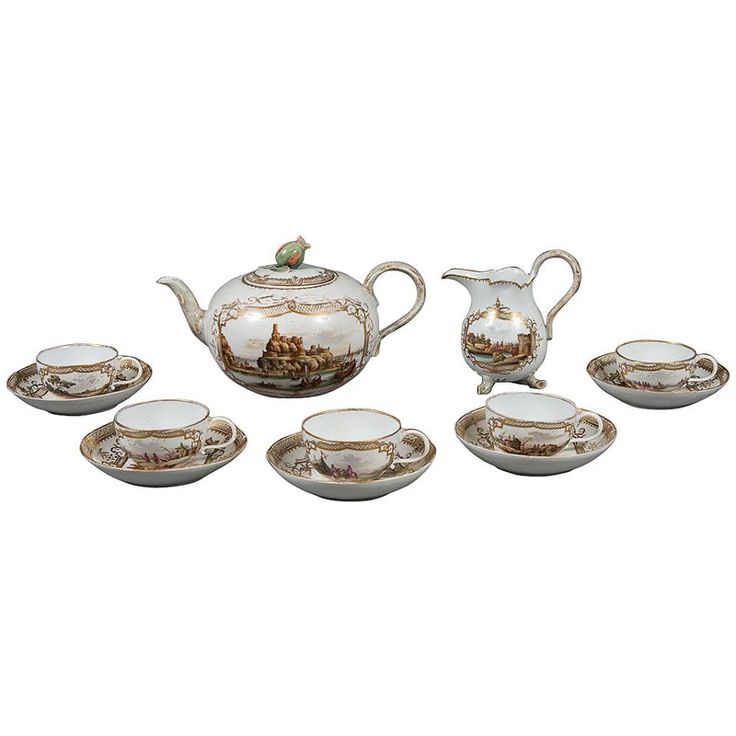 A Fine Antique 19th Century Meissen Porcelain Topographical 12-Piece Tea Set    SOLD